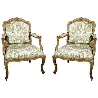 French Louis XV Green Toile Fauteuils - A Pair