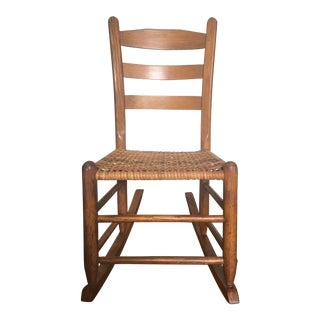 Vintage Ladder Back Oak Sewing Rocker