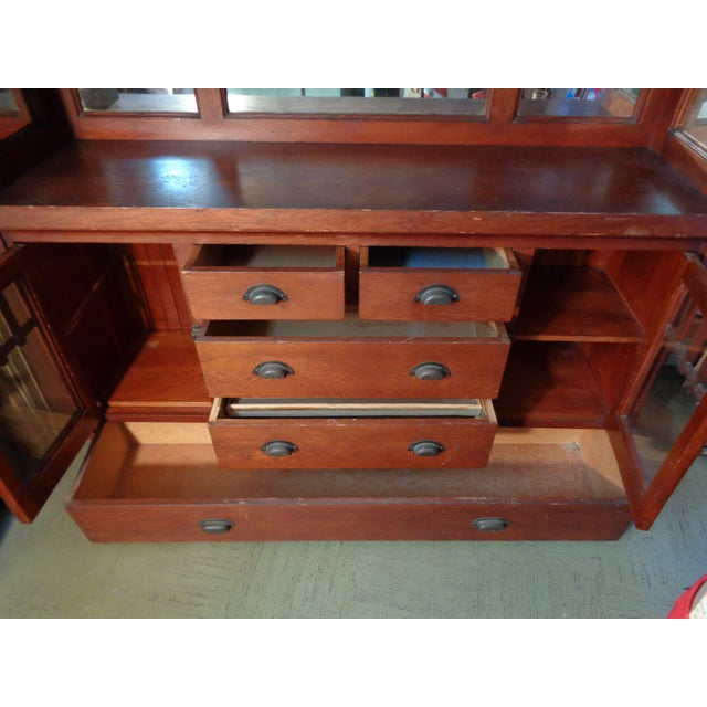 Antique Mission Hutch China Cabinet - Image 10 of 11