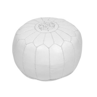 Moroccan White Embroidered Leather Pouf