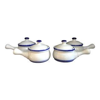 Vintage Blue & White Lidded Soup Crocks- Set of 4