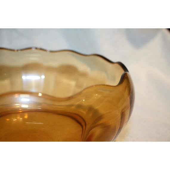 Retro Amber Glass Serving Bowl - Image 4 of 4