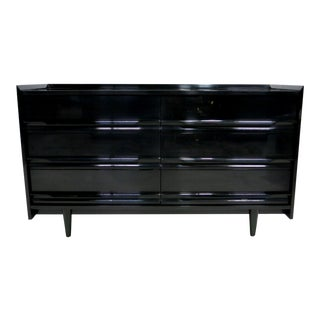 French Polished Black Lacquer Dresser, Attributed to Edmond Spence