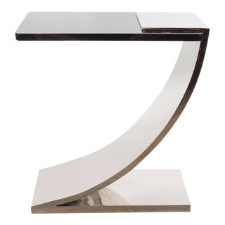 Sophisticated Modernist Polished Nickel and Black Lacquer Side or Drinks Table