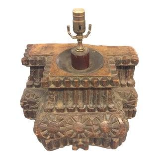 Antique Hand Carved Column Lamp