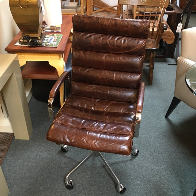 Restoration Hardware Leather Chair: Restoration Hardware Oviedo Cocoa Leather Office Chair