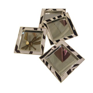 Chrome Cowhide Zebra Pattern Coasters - Set of 4