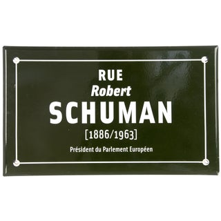 Vintage French Enamel Street Sign for Rue Schuman