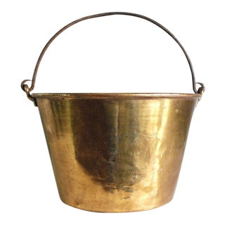 1800s Antique Brass Bucket / Firewood Holder