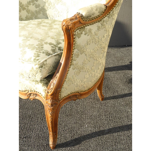 Antique Carved French Louis XV Style Barrel Back Bergere Chair - Image 10 of 11