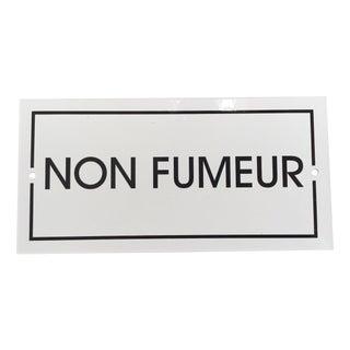 French 'Non-Fumeur' White Enamel Plaque