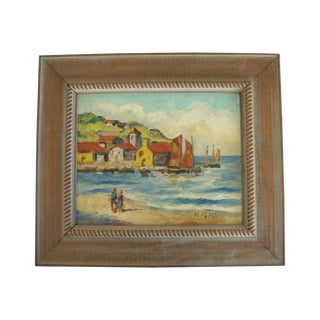 H Harvey Mediterranean Village Oil Painting