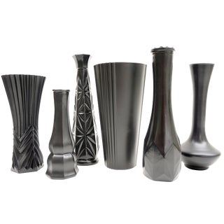Vintage Assorted Matte Black Bud Vases