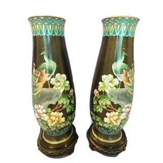 Vintage Cloisonne Vases - Pair