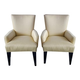 Contemporary Chartreuse Linen Armchairs - A Pair