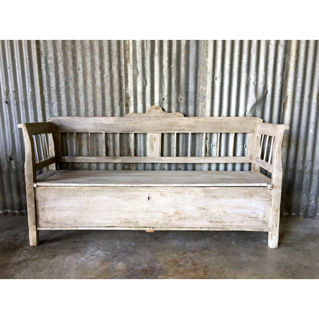 Image of Antique 19th Century Hungarian Storage Bench