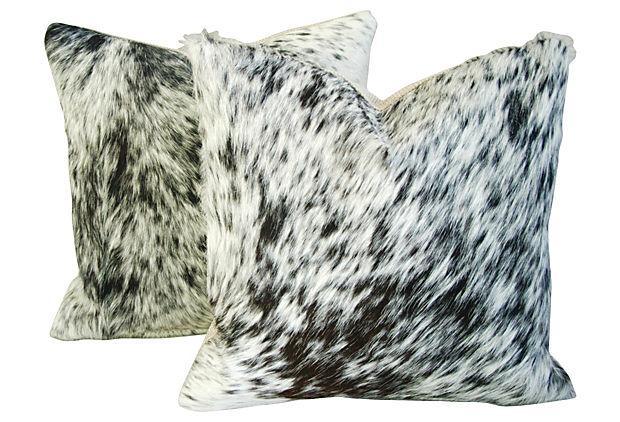 Natural Cowhide Amp Down Pillows A Pair Chairish