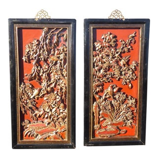 Asian Red & Gold Gilt Carved Wall Panels - A Pair