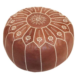 Moroccan Leather Pouf in Chestnut Starburst (Stuffed)