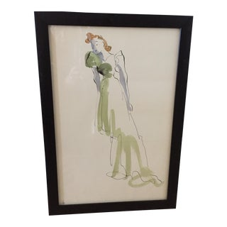 Hand Colored Fashion Drawing of Green Gown