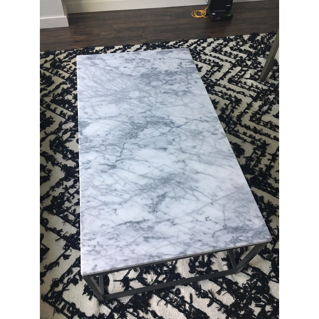 West Elm Marble Coffee Table - Image 3 of 4