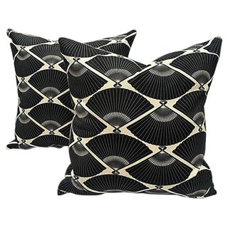 Black & White Deco Fan Pillows - Pair