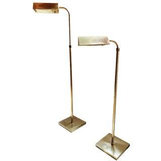 Vintage Adjustable  Brass Floor Lamps - A Pair