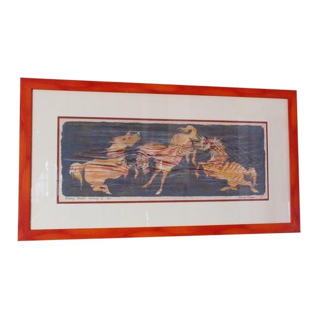 Image of Nancy Nemec Mid-Century Etching of Horses