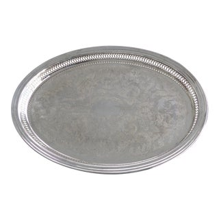 Oval Silverplate Gallery Rail Tray by Kent Silversmiths