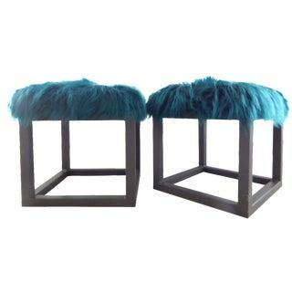 Peacock Blue Faux Fur Stools - A Pair