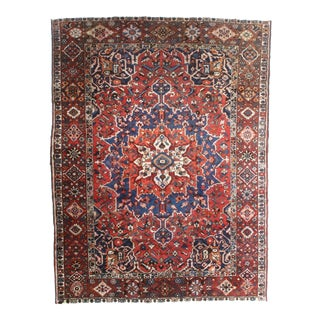 Vintage Hand Knotted Wool Persian Baktiari Rug - 9′ × 12′2″
