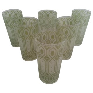Decorative Green Drinking Glasses - Set of 6