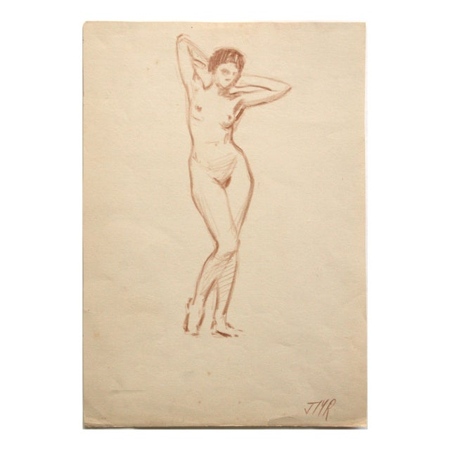 Charcoal Nude Drawing by Joseph Mason Reeves Jr. - Image 1 of 4