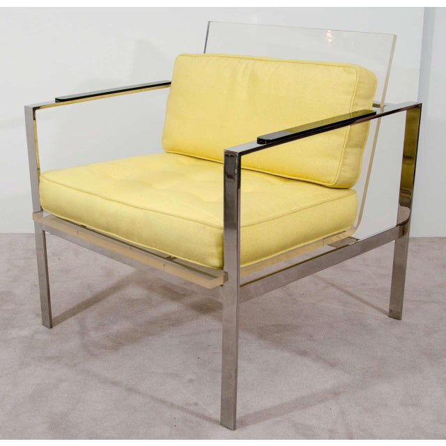 Rare Pair of Modernist Lucite And Nickeled Bronze Chairs by Laverne - Image 2 of 10