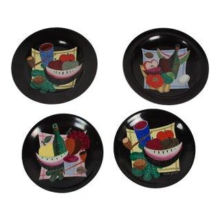 Set of Four Still-Life Plates by Colette Gueden for Primavera