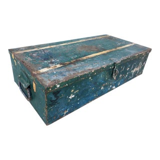 Industrial Green Metal Trunk Toolbox