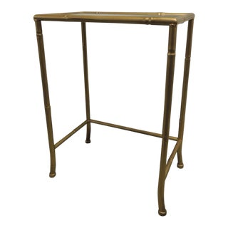 Small Metal gold phone table with glass inset top