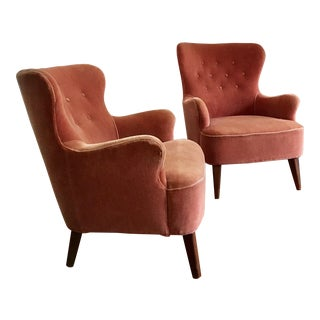 1958 Vintage Theo Ruth for Artifort Mid Century Danish Modern Lounge Chairs - a Pair