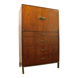 Mid-Century Danish Modern Milo Baughman Founders Walnut Gentleman/Tall Chest