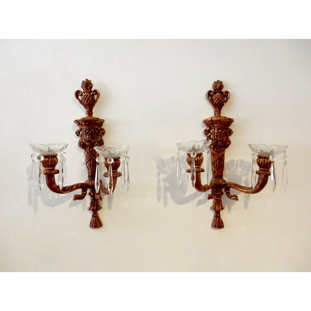 French Wood Candle Holder Sconces - Pair - Image 2 of 11