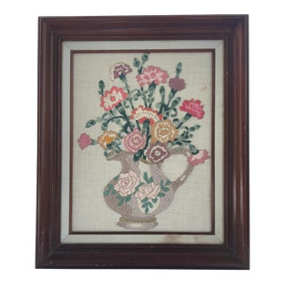 Crewel Embroidery Vase of Flowers