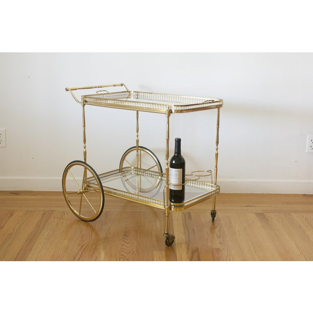 Hollywood Regency Brass Cart - Image 3 of 5