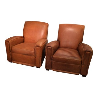 Cognac Leather French Club Chairs - A Pair