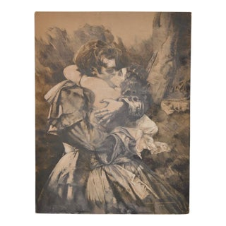 """1924 Original Gouache and Ink Illustration """"The Embrace"""" by Florence Maurine Truelson"""