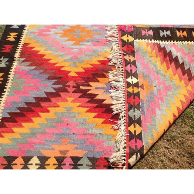 "Vintage Turkish Kilim Rug - 6'4"" X 9'10"" - Image 6 of 6"