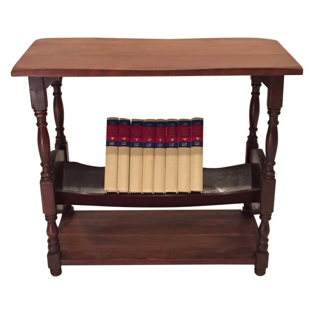 vintage walnut bookshelf side table chairish