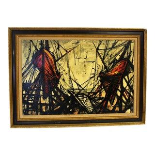 "Bernard Buffet Style ""Shipyard"" Oil on Canvas Painting"