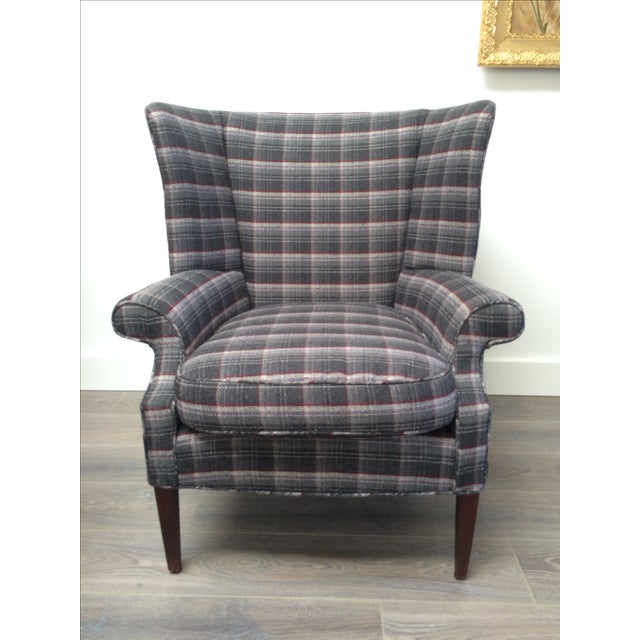 Gray Plaid Wing Chair Chairish