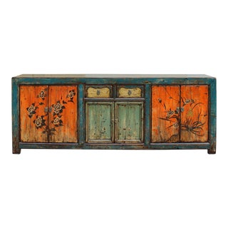 Chinese Distressed Blue Orange Long Sideboard Console Table Cabinet