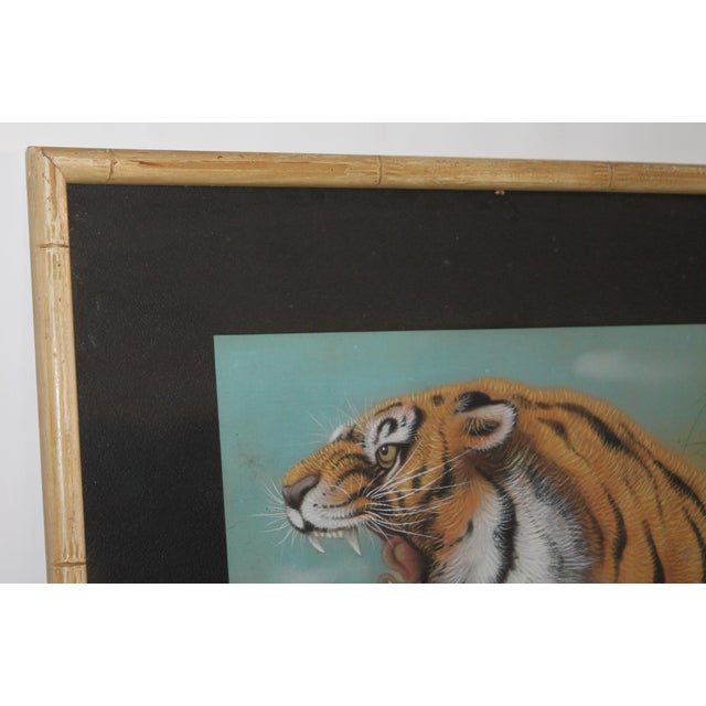 Amazing Pastel Art Tiger Painting W/Bamboo Frame - Image 3 of 8